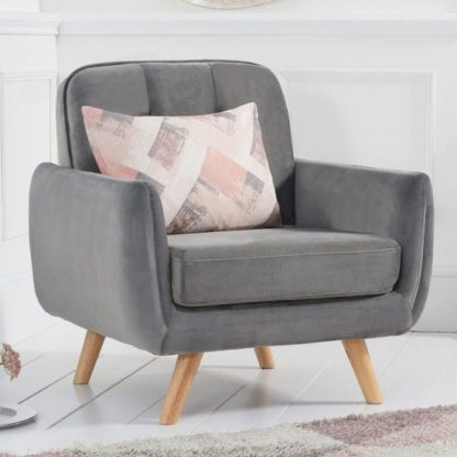 An Image of Rickey Velvet Armchair In Grey With Solid Wood Legs