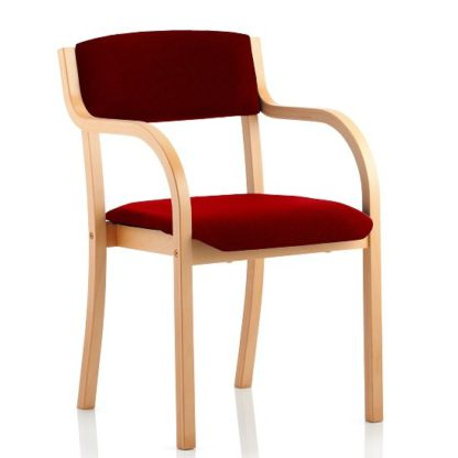 An Image of Charles Office Chair In Chilli And Wooden Frame With Arms