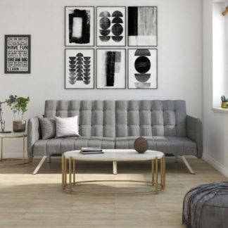 An Image of Emily Leather Convertible Clic Clac Sofa bed In Linen Grey