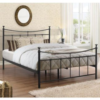 An Image of Emily Steel Double Bed In Black