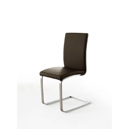 An Image of Pauline Brown Faux Leather Dining Chair With Chrome Legs