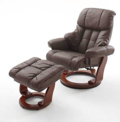 An Image of Calgary Swivel Relaxer Chair Leather With Foot Stool In Brown