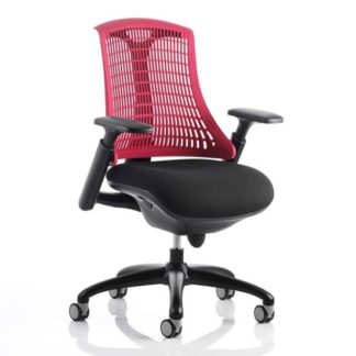 An Image of Flex Task Office Chair In Black Frame With Red Back