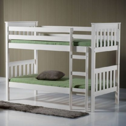 An Image of Charleston Wooden Bunk Bed In Ivory Finish