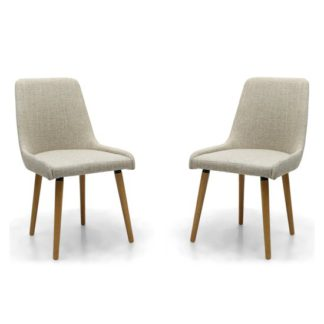 An Image of Capri Flax Effect Natural Dining Chairs In Pair