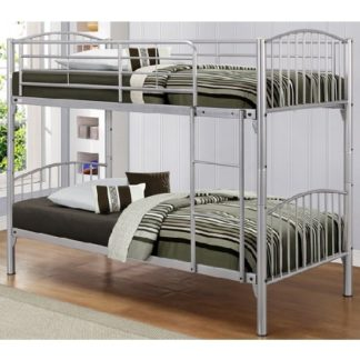 An Image of Paddington Children Metal Bunk Bed In Silver