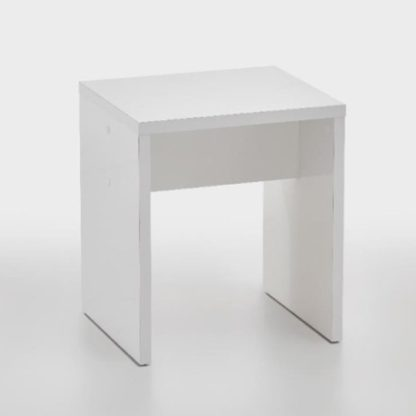 An Image of Pisces Dressing Table Stool In Glossy White