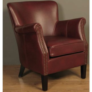 An Image of Aquarii Leather Air Fabric Lounge Armchair Burgundy