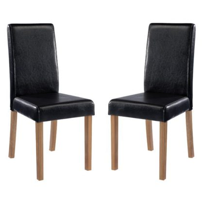 An Image of Oakridge Black Finish Dining Chairs In Pair