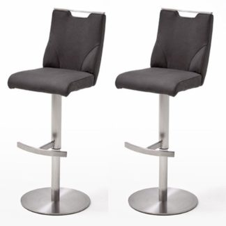 An Image of Jiulia Anthracite Bar Stool In Pair With Stainless Steel Base