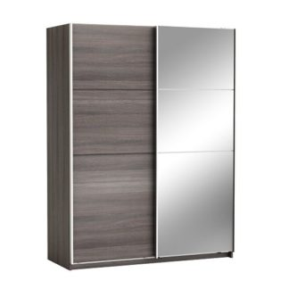 An Image of Oakley Mirrored Sliding Wardrobe In Vulcano Oak With 2 Doors
