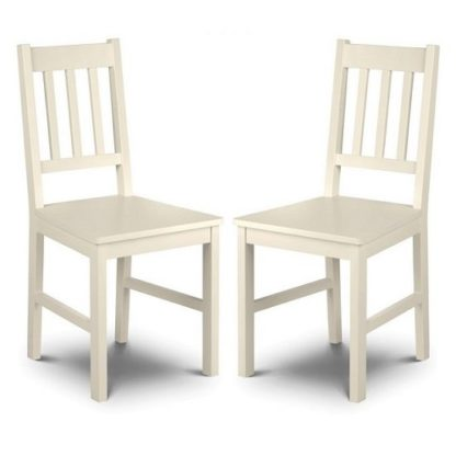 An Image of Amandes Wooden Dining Chair In Stone White Lacquer In A Pair