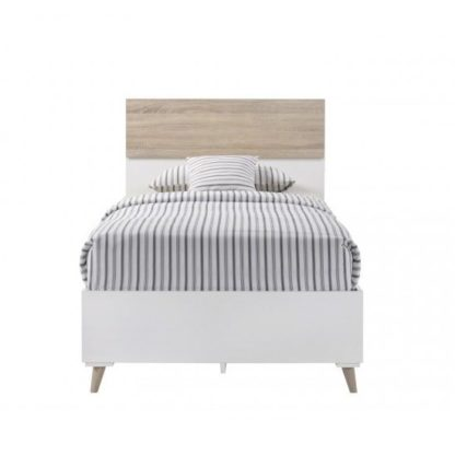 An Image of Belavo Wooden Single Bed In Matt White And Sonoma Oak