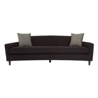 An Image of Menkar Dimity Fabric 3 Seater Sofa In Black