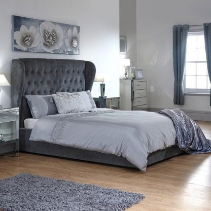 An Image of Toups Fabric Ottoman Storage Double Size Bed In Grey