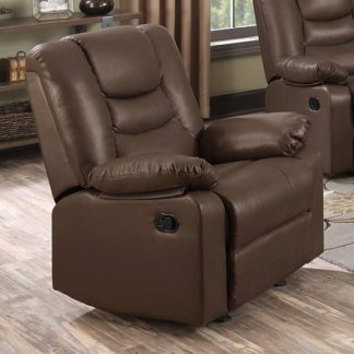 An Image of Gruis LeatherGel And PU Recliner 1 Seater Sofa In Dark Chocolate