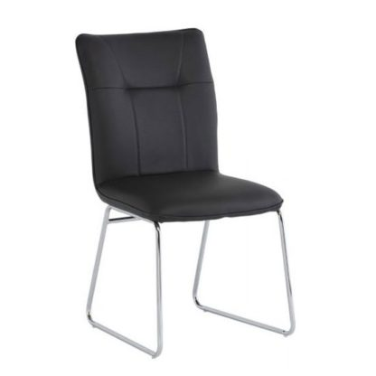 An Image of Albany PU Leather Dining Chair In Dark Grey