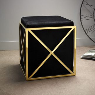 An Image of Farran Stool In Black Velvet And Gold Plated Stainless Steel