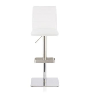 An Image of Aerith Bar Stool In White Faux Leather And Stainless Steel Base