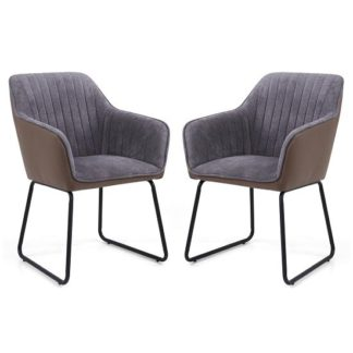 An Image of Ferrante Chennile Fabric Dining Chair In Grey Finish In A Pair