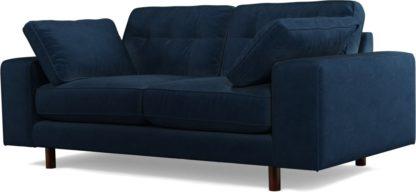 An Image of Content by Terence Conran Tobias, 2 Seater Sofa, Plush Indigo Velvet, Dark Wood Leg