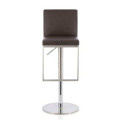 An Image of Cuban Bar Stool In Brown Faux Leather And Stainless Steel Base