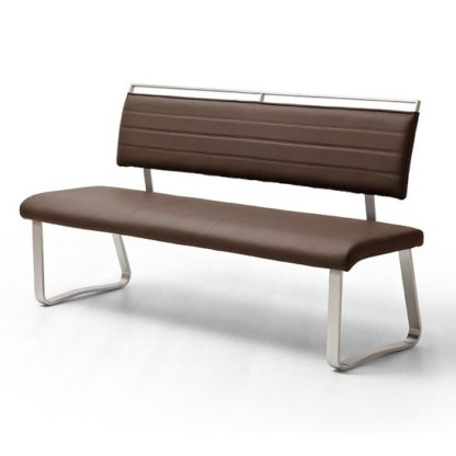 An Image of Scala Dining Bench In Brown PU And Brushed Stainless Steel