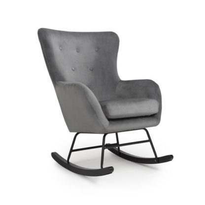 An Image of Alpine Brushed Velvet Rocking Chair In Grey