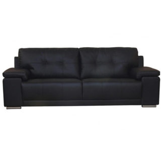An Image of Ranee Bonded Leather And PU 3 Seater Sofa In Black