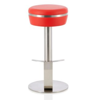 An Image of Heston Bar Stool In Red Faux Leather With Stainless Steel Base