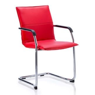 An Image of Echo Leather Cantilever Office Visitor Chair In Red With Arms