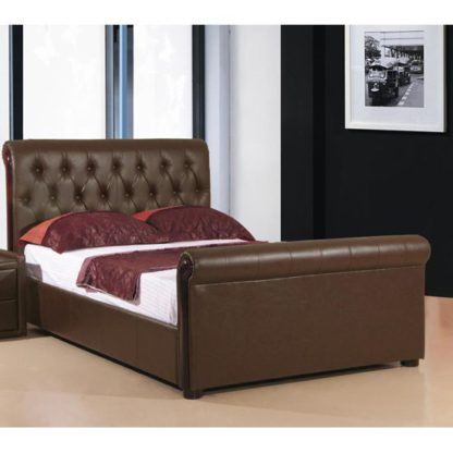 An Image of Caxton Faux Leather Storage Double Bed In Brown