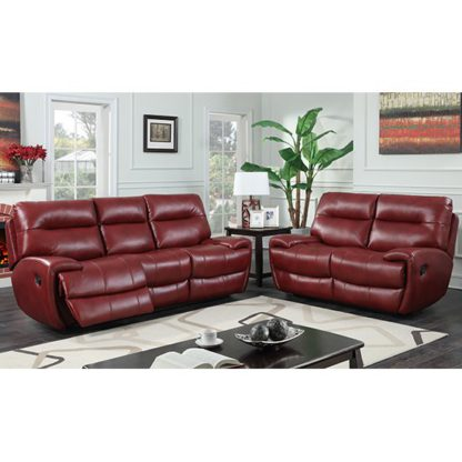 An Image of Orionis Recliner 2 Seater And 3 Seater Sofa Suite In Red