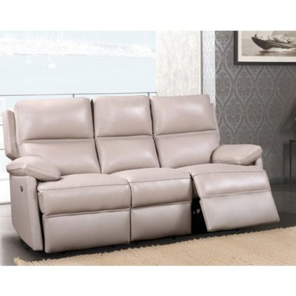 An Image of Bailey Leather 3 Seater Recliner Sofa In Taupe