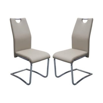 An Image of Capella Khaki Faux Leather Dining Chairs In Pair
