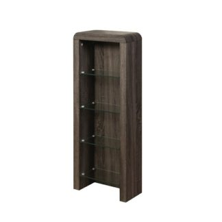 An Image of Cannock Wooden CD DVD Storage Unit In Charcoal With 4 Glass Shel