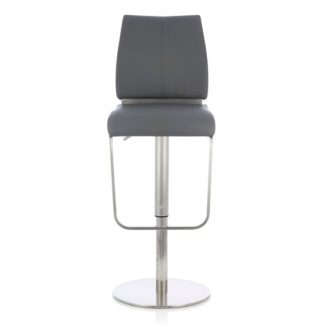 An Image of Terry Bar Stool In Grey Faux Leather And Stainless Steel Base