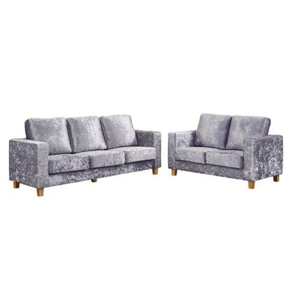 An Image of Wasp Crushed Velvet 2 Seater And 3 Seater Sofa Suite In Silver