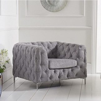 An Image of Sabine Velvet Armchair In Plush Grey With Metal Legs