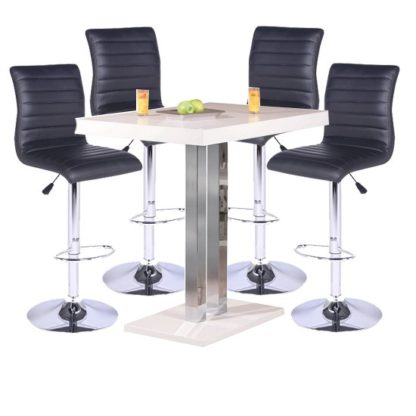 An Image of Palzo Bar Table In White High Gloss With 4 Ripple Black Stools