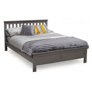 An Image of Buntin Wooden Double Size Bed In Grey Painted Finish