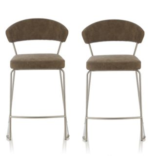 An Image of Adelina Retro Bar Stool In Taupe Faux Leather In A Pair