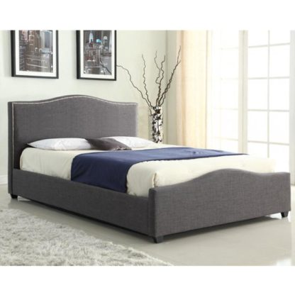 An Image of Elle Linen Fabric Storage King Size Bed In Grey