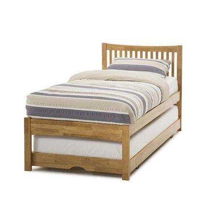 An Image of Mya Hevea Wooden Single Bed and Guest Bed In Honey Oak