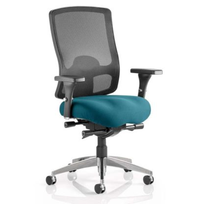 An Image of Regent Office Chair With Maringa Teal Seat And Arms