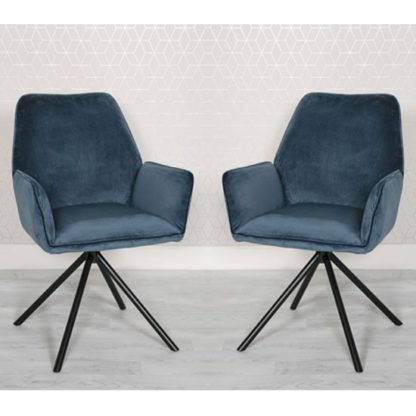 An Image of Uno Blue Velvet Fabric Dining Chairs In A Pair