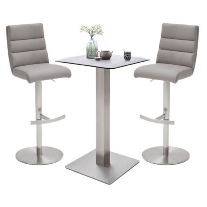 An Image of Soho Glass Bar Table With 2 Hiulia Ice Grey Leather Stools