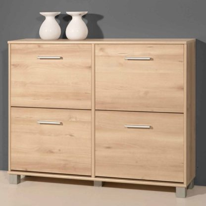 An Image of Modern Shoe Cabinet In Noble Beech With 4 Doors