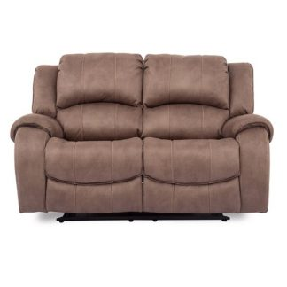 An Image of Ryan Recliner Textured Fabric Two Seater Sofa In Biscuit