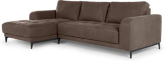 An Image of Luciano Left Hand Facing Corner Sofa, Texas Charcoal Grey Leather